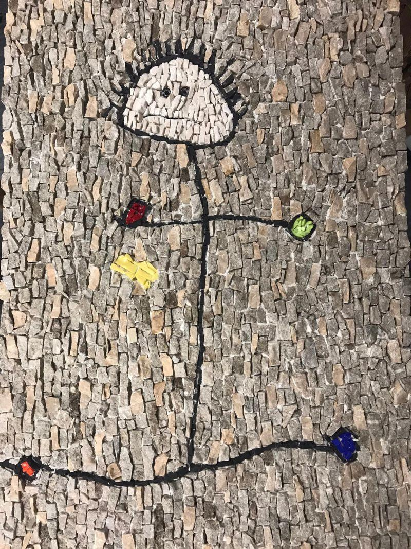Childrens drawing in mosaic