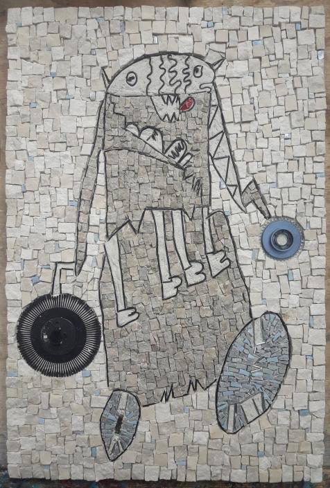 children's drawing in mosaic