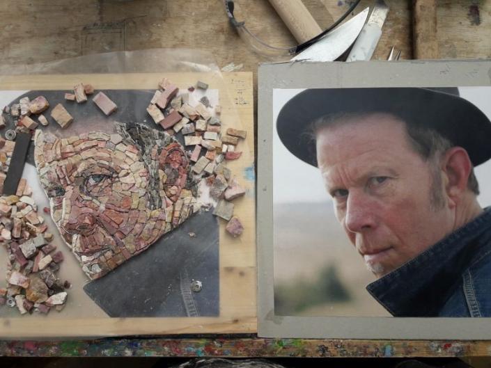 Mosaic portrait Tom Waits