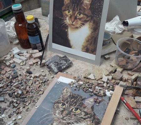 Animal portrait in mosaic